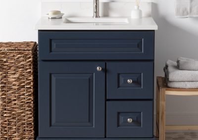 "30"" Navy Grey (Kingston) vanity with Carrera Quartz top"