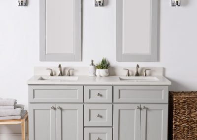 "60"" double bowl Smoke (London) vanity with Dover White Quartz top"